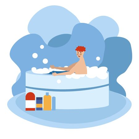 Man relaxing in a hot tub, spa accessories. a lot of foam. Soap bubbles fly. Vector illustration in flat cartoon style. Vettoriali