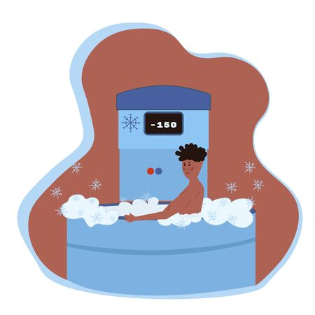 A man undergoes a full body cryotherapy course in a cryosauna. Vector illustration in cartoon flat style