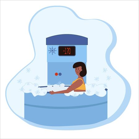 A woman undergoes a full body cryotherapy course in a cryosauna. Vector illustration in cartoon flat style