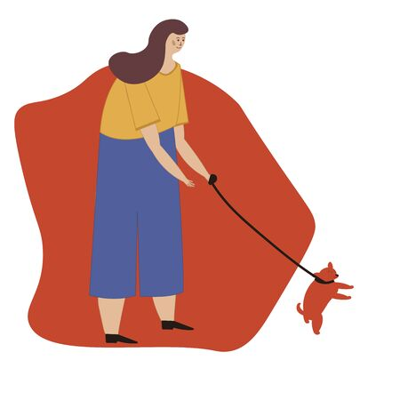 Young cute girl walking with a dog. Vector illustration for service of pet sitter, walker, vet clinic, pet care, hospital, dog shelter. Design template for poster, booklet, banner, flyer, web, advert.