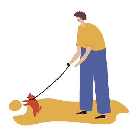 Man walking with a dog. Vector illustration for service of pet sitter, walker, vet clinic, pet care, hospital, dog shelter. Design template for poster, booklet, banner, flyer, web, advert. Man plays with a dog. Ilustracja