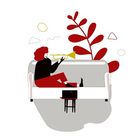 Young girl or woman playing a musical instrument on a sofa in the living room. Distance learning trumpet lessons. I study at home. Spend time at home. stylized illustration in cartoon hand-drawn style on a white background. Online guitar. Vector illustration
