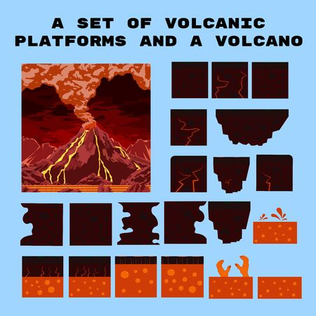 a set of volcanic platforms and a volcano for a platform game. 2D isolated objects. Vector concept.