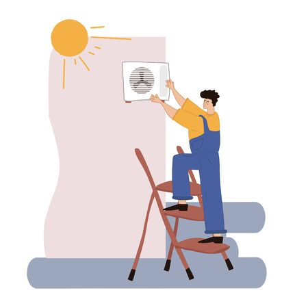 A person installs or repairs an air conditioner. Repair and installation of ventilation. Vector illustration in hand-drawn style.