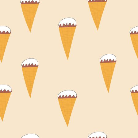 Seamless ice cream cone pattern, hand-drawn summer background, ice-cream vector