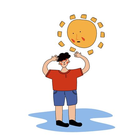 An Asian-looking man received a sunstroke. Heatstroke. Vector illustration with contour in hand-drawn style. Ilustrace