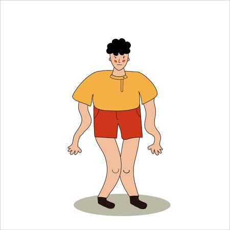 The man has cramps. Legs and arms tremble. The guy has convulsions. Vector illustration in hand-drawn style