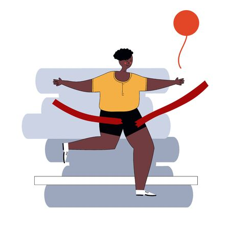 Marathon Finish Line African American Running Man Athletics Sportsman Games. Win Concept. 3D Isometric Marathon Athlete. Sport of Athletic Sporting Competition. Sport Infographic events vector Image. 矢量图像