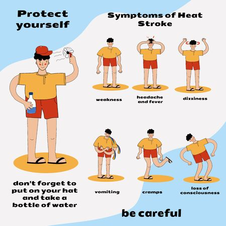 Heat stroke warning infographics. detail of hot weather to heat stroke disease with prevention and symptoms. health or health and medical vector illustration Illustration