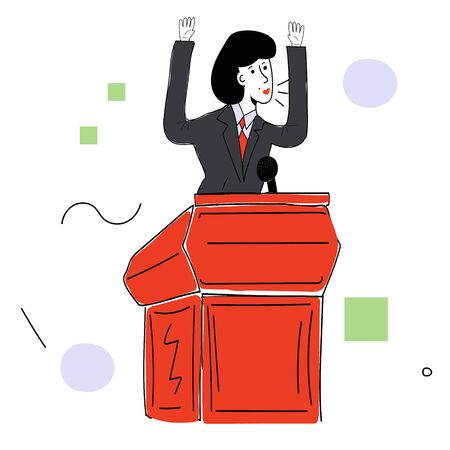 A female politician in a business suit behind the podium makes a speech. Vector illustration with contour in hand drawn style. Cartoon picture