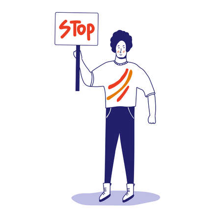 A man with a banner, a protesting activist, a workers strike. Worker holds a blank banner, takes part in the parade. A manifest with a demonstration sign with empty space for text. Single picket. Vector illustration with blue outline in cartoon hand-drawn style.