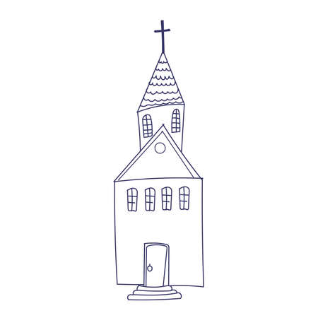 Hand drawn doodle Christian building church icon with Catholic cross Vector illustration sketchy traditional symbol Cute cartoon religious concept element. Ilustrace