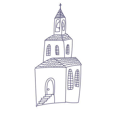 Hand drawn doodle Christian building church icon with Catholic cross Vector illustration sketchy traditional symbol Cute cartoon religious concept element. Ilustracja
