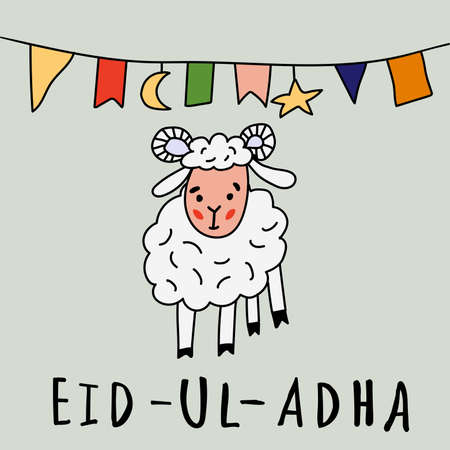 Eid ul adha greeting card with sheep, moon, star and flags, muslim community festival of sacrifice. illustration in style doodle. Islamic holiday.
