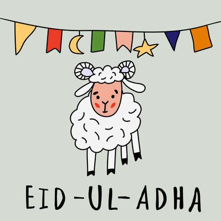 Eid UL Adha贺卡与绵羊,月亮,星和旗帜,穆斯林社区牺牲节。在样式乱画的例证。伊斯兰假期。