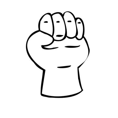 Hand clenched into a fist. Gesture of strength. Illustration in sketch style. Hand drawn vector illustrations Ilustracje wektorowe