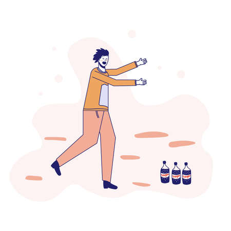 Soda addiction concept illustration. The man runs to the soda bottles. An unhealthy lifestyle, unhealthy diet, and a sweet tooth. Vector illustration. Lines