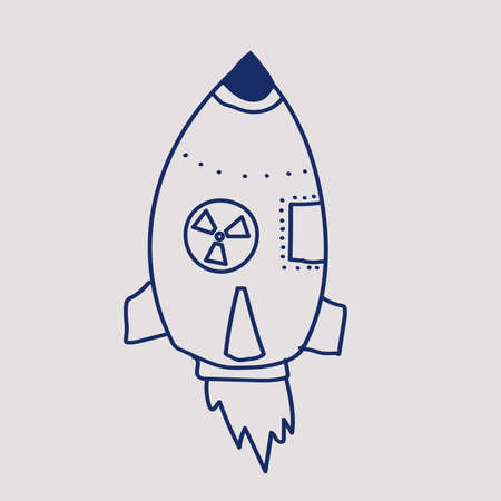nuclear missile doodle. Vector drawing blue line.