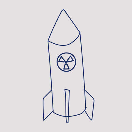 nuclear missile doodle. Vector drawing blue line