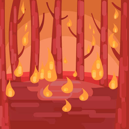 forest fire. Vector illustration. Trees are burning. The forest is dying of fire