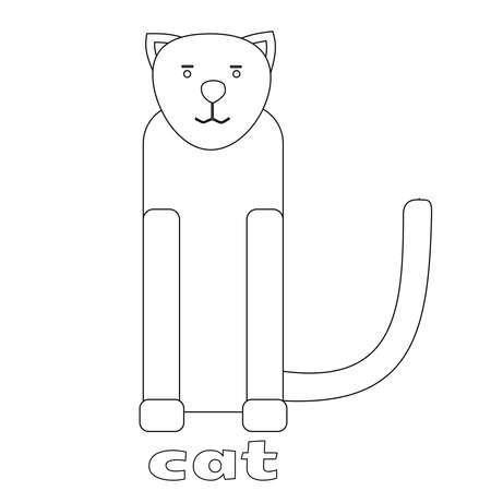 Vector illustration of Cat cartoon - Coloring book.