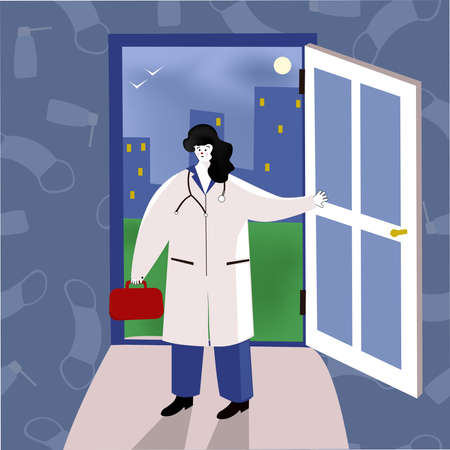doctor at home. A female doctor enters the house through the door. For help with coronavirus, the doctor comes to the patient s home