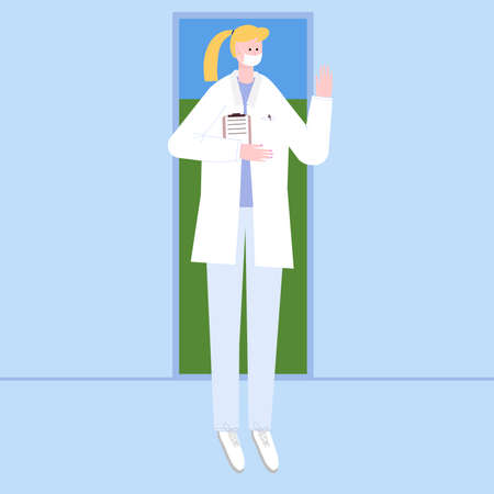 female doctor in mask greets with palm. The doctor has entered the room and is standing in the background by the door from the street. Vector illustration in flat style for web pages and mailings.