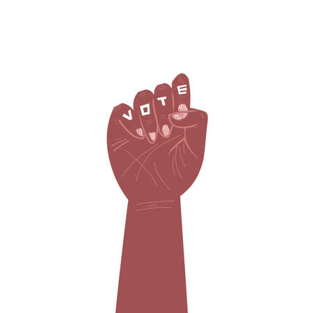 black clenched fist in cartoon style. Solidarity with workers with voting inscription