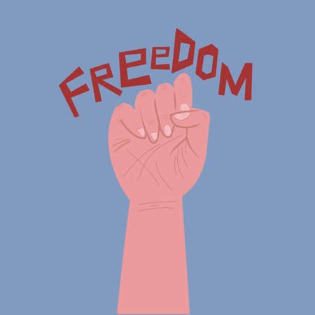 A clenched fist. Symbol of struggle and solidarity of the working class. freedom vector illustration