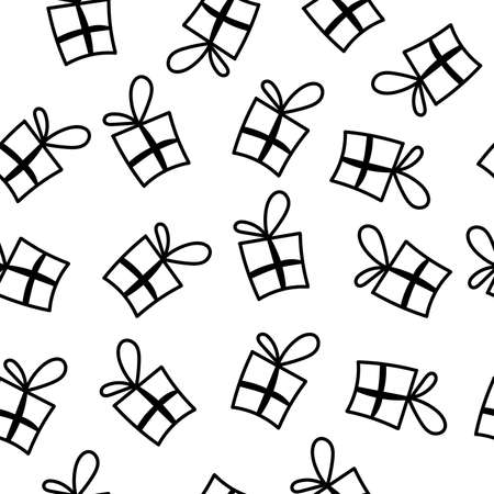 Seamless pattern doodle gift box. Gift with ribbons in the style of a naive illustration. vector image isolated on white.