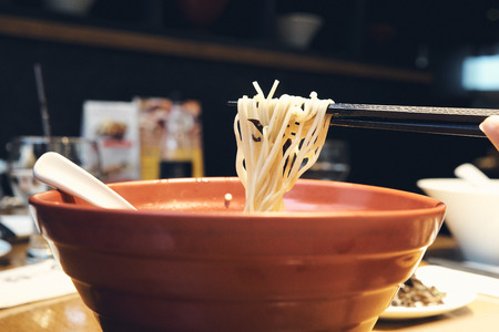 Ramen national food of Japan is similar to the noodles that everyone knows. A mixture of lines made from talcum powder, seaweed and boiled soup from bone. Stok Fotoğraf