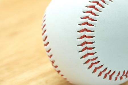 White baseball with red thread. Make baseball bindings. Baseball is a national sport of Japan. It is popular.