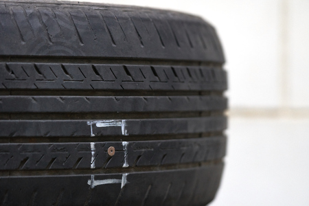 Tires on the floor are damaged by hitting nails or sharp objects, resulting in leakage of rubber and can not be run on the road.
