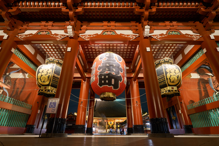 A large red lamp in Sensoji Temple, Japan. Also known as Shrine of Asakusa Night photography It is a famous tourist destination of Japan.