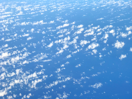 Cloudscape blue sky with clouds background in Sunny day. Stock Photo