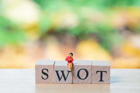 Miniature people sitting on wood word SWOT using as background business concept and Strategy concept with copy space for your text or design. Stock Photo