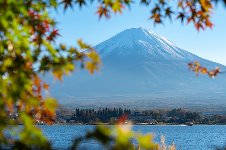 Landscape of view the Mount Fuji and Bright red maple leaf frame Kawaguchiko In the morning is a tourist attraction of Japan. In a small town