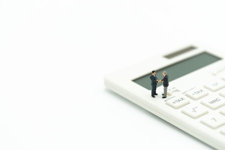 Miniature people Pay queue Annual income (TAX) for the year on calculator. using as background business concept and finance concept with copy space  for your text or  design. Standard-Bild - 114603206