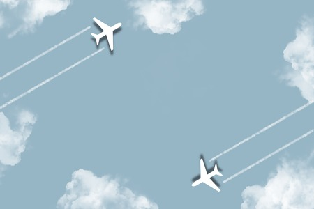 Digital art illustrator background. Planes flying through clouds. background ideas for your design banners , book, Website work, stripes, tiles, background texture wall with copy spaces.