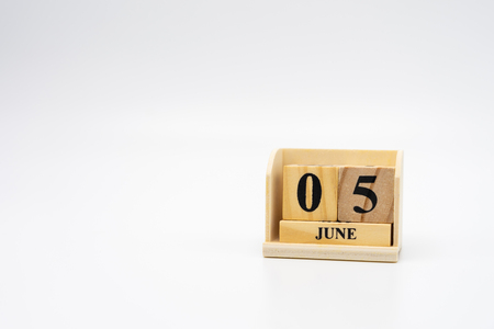 June 5  wooden calendar on vintage wood abstract background. World Environment Day  with copy space for your text.