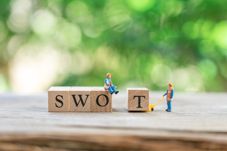 Miniature people Construction worker with wood word team as background business and swot concept with copy space. Imagens