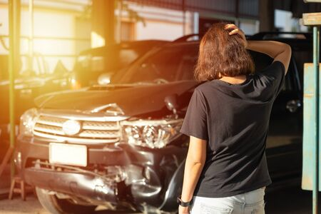 Cars break down from experiencing road accidents. Waiting for repair to perform maintenance, return to original condition Driving rate concept Car repair