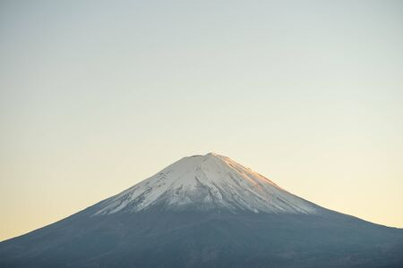 Landscape of view the Mount Fuji and Lake Kawaguchiko In the morning is a tourist attraction of Japan. In a small town