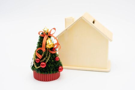 Miniature Christmas tree Celebrate Christmas on December 25 every year. using as background xmas concept with copy spaces for you