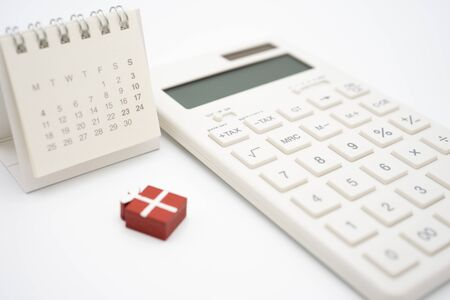 Keypad TAX button For tax calculation. Easy to calculate. on White calculator on white background using as background business concept and Education concept with copy spaces for your text or design.