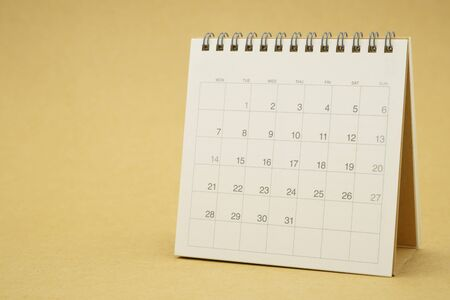 A calendar of the month. using as background business concept and Planning concept with copy spaces and white space for your text or design. Stock Photo