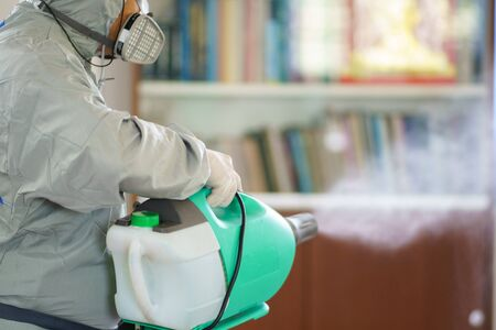 Disinfectant sprayers and germs that adhere on objects on the surface. prevent infection Covid 19 viruses or coronavirus And various pathogens. concept healthcare system ,stay safe and hand sanitizer. Reklamní fotografie