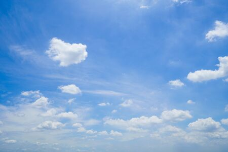 Summer sky is bright blue. There are clouds floating through. Feel relax when looking. See the sun on the sun.