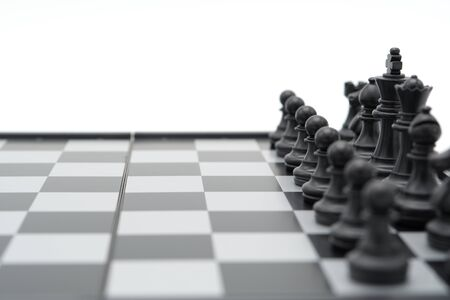 chessboard with a chess piece on the back Negotiating in business. as background business concept and strategy concept with copy space. Banque d'images - 150452244