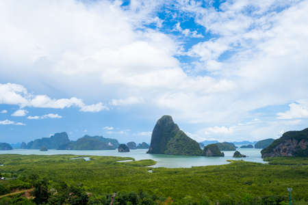 Landscape Viewpoint Samed Nang Chee Bay mountain view point in Phang Nga Province unseen in Thailand travel. Near Phuket Province, Thailand